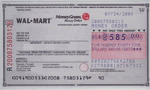 Sample Walmart Money Order